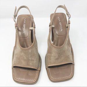 Via Spiga Perforated suede slingback heels
